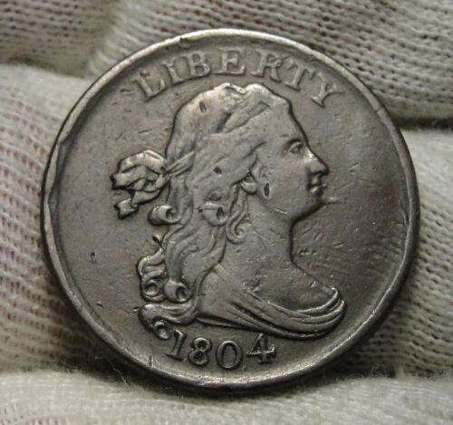 1804 Draped Bust Half Cent Spiked Chin, Nice Coin, Free Shipping  (8102)