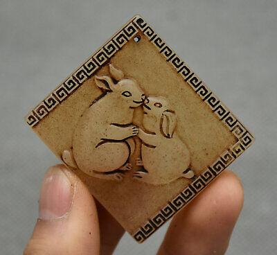 5CM Chinese Hongshan Culture Old Jade Carving Animal 2 Rabbit Amulet Pendant