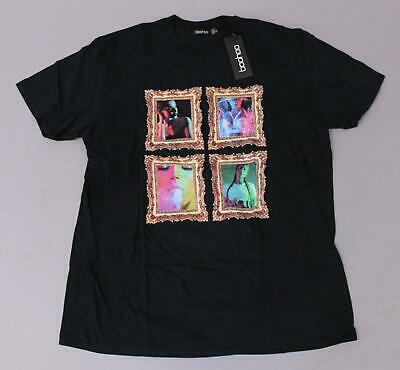 Boohoo Women's S/S Plus Betty Frame Print T-Shirt BF5 Black Size US:18 UK:22 NWT