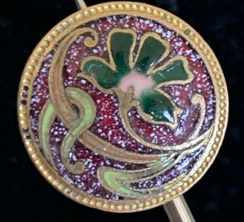 Antique Lavender Floral Enamel Button