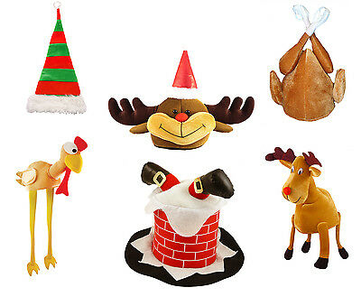 Silly Christmas Party Novelty Hat, Turkey, Santa, Chimney, Elf, Reindeer - Silly Santa Hats