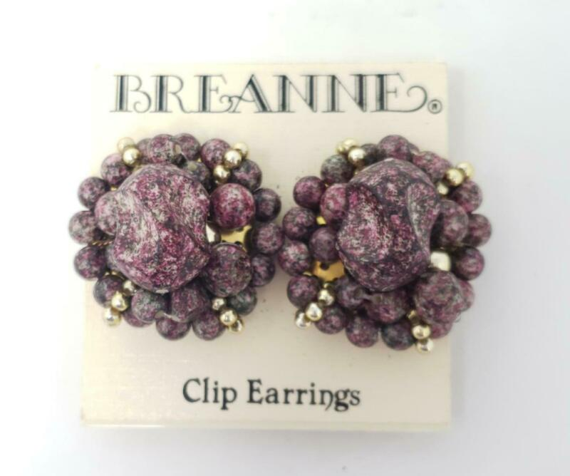 Vintage Breanne Marbled Purple Gray Faux Stone Cluster Clip Earrings on Card