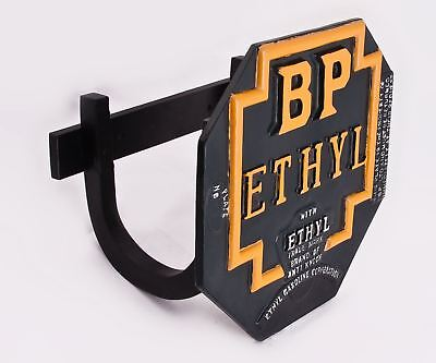 BP Ethyl Petrol Cast Aluminum Sign With Wall Mounted Hose Holder