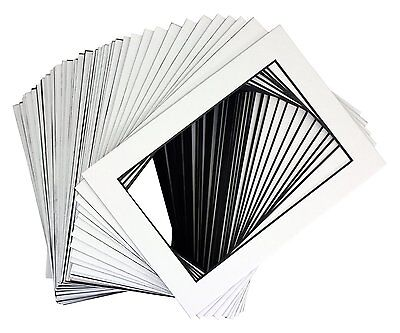 Pack of 200 5x7 WHITE Picture Mats Mattes with Black Core for 4x6 Photo