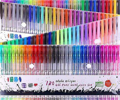 Ohuhu 120 Unique Colors (No Duplicates) Gel Pens Set for Adult Coloring Book