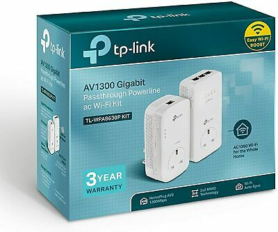 TP-Lunk AV1300 TL-WPA8630PKIT V2 1300Mbps Gigabit Passthrough Powerline AC Wi-Fi