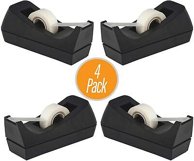 Pack Of 4 New Desktop Tape Dispenser Black With Non-slip Base 1 Core