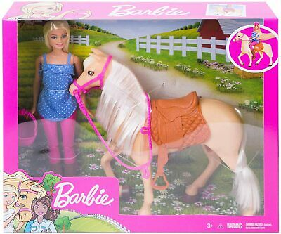 Blonde Barbie Doll with Riding Horse Playset with Accessories, New by Mattel