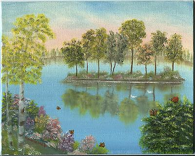 SUMMER SPRING GARDEN FLOWERS PERENNIAL GEESE ISLAND TOPIARY REFLECTIONS PAINTING