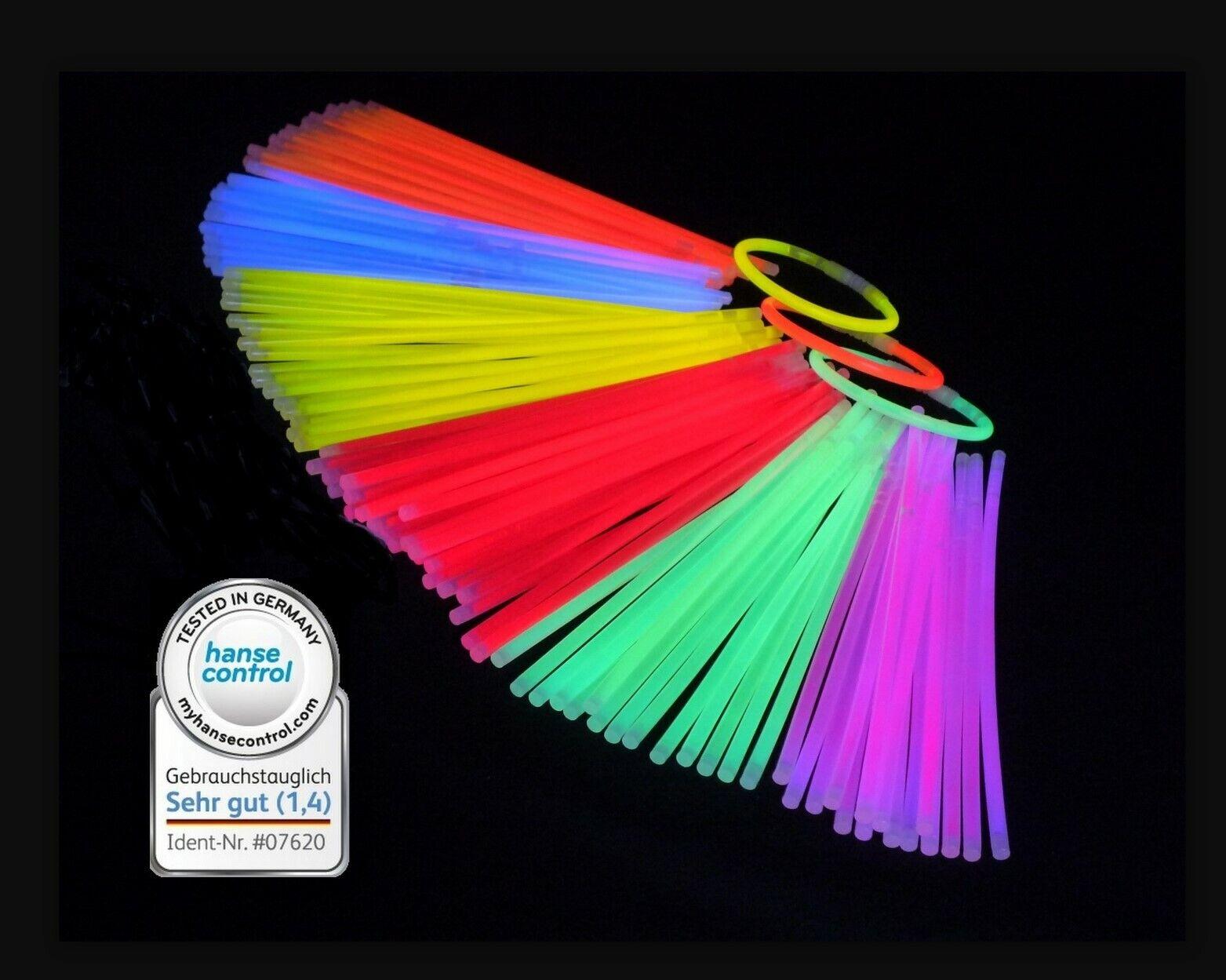 300 Knicklichter 200 x 5 mm im Farb-Mix oder einfarbig  Leuchtstäbe Glow Sticks
