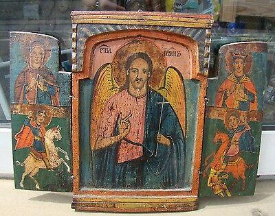 Orig. serbische Ikone Triptychon 19.Jhd Johannes der Täufer & Heilige