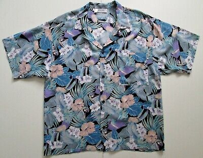 """Vintage Auth Rasurel France Hawaiian Shirt Parrots & Toucans 46""""-117cm M (164H)"""