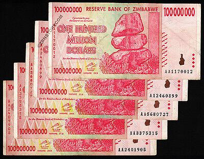 100 Million Zimbabwe Dollars x 5 Banknotes AA 2008 Currency Paper Money Lot 5PCS