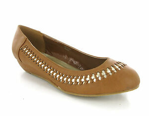 New Womens Viva La Diva Wide Fit EEE Ballerina Wedge Slip On Shoes Size 4-9 UK