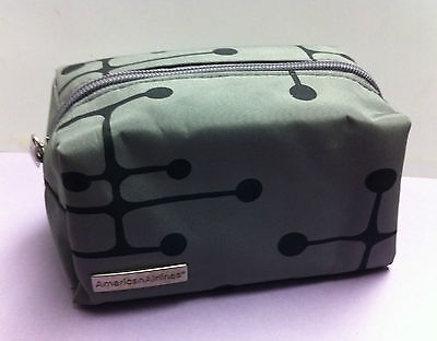 Eames Dot Pattern Gray American Airlines Travel Cosmetic Bag 3x3x6 inches