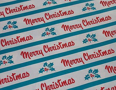 VTG MERRY CHRISTMAS WW2 ERA WRAPPING PAPER GIFT WRAP NOS 2 YARDS 1940 TEAL HOLLY - Teal Wrapping Paper
