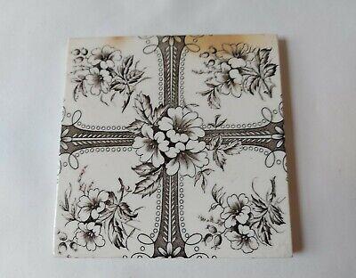Antique Victorian Ceramic Fireplace Tile Black & White Floral Design 15.2cm