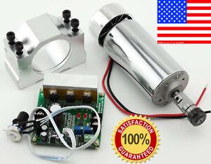 CNC Spindle Motor 400W ER11 & Mach3 PWM Speed Controller + Mount Engraving Kit