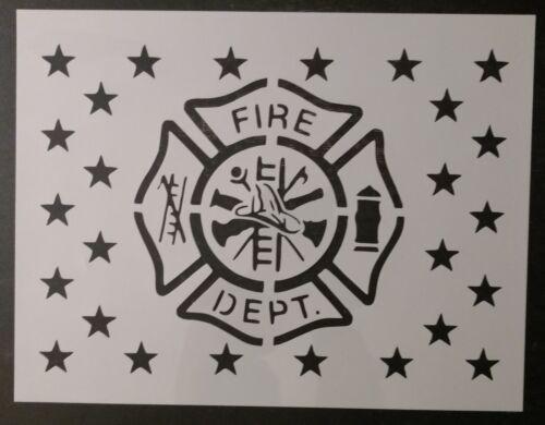"Fire Department Flag Maltese Cross 11"" x 8.5"" Custom Stencil FAST FREE SHIPPING"