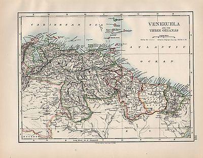1899 VICTORIAN MAP ~ SOUTH AMERICA ~ VENEZUELA & THREE GUIANAS