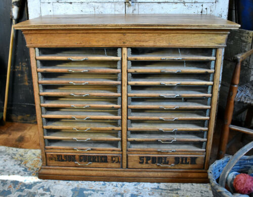 Large Antique 20 Drawer Carlson Currier Co Spool Cabinet