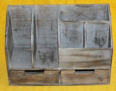 Vintage Rustic Wooden Office Desk Organizer Book Shelf For Desktop Tabletop