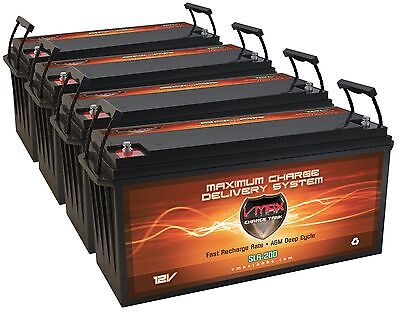 Qty4 Slr200 Solar Wind Power Backup Agm Deep Cycle High Capacity 200ah Battery