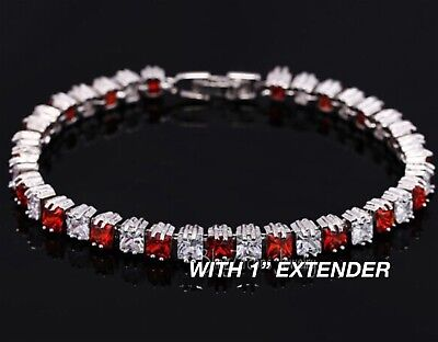 Sterling Silver Red Created Ruby Women's Tennis Bracelet (Created Ruby Tennis Bracelet)