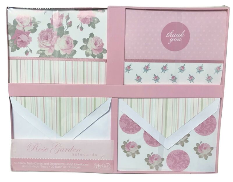 C.R. Gibson Markings Rose Garden Pink Note Cards Set, 40