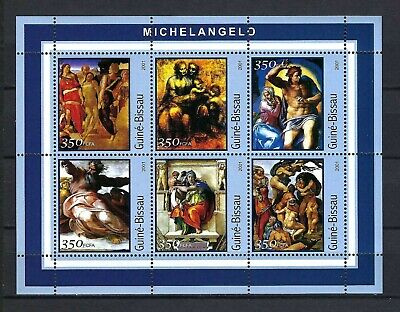Guinea-Bissau 2001 Mi#1678-83  Art-Paintings by Michelangelo  MNH M/S $10.35