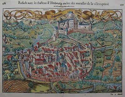 Rouffach - Rufach - Sebastian Münster 1550 -Originaler Holzschnitt -Rare woodcut