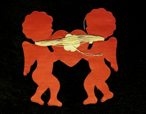 Fabulous Vintage Die Cut Paper Valentine Garland - Cherubs & Hearts