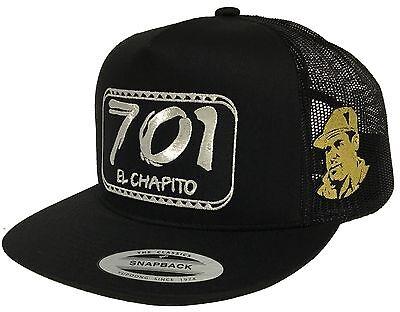 EL CHAPO GUZMAN, MEXICO 701 HAT MESH BLACK 2 LOGOS  SNAPBACK ADJUSTABLE