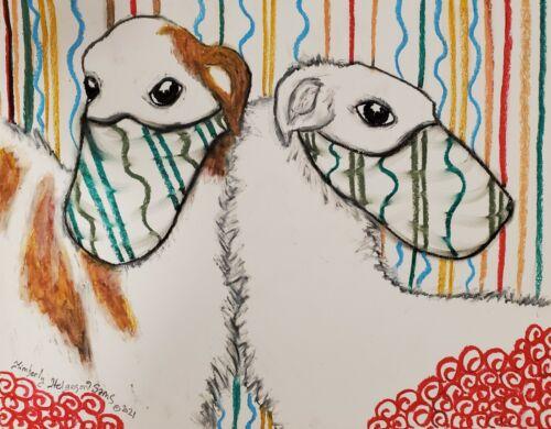 ACEO Dog Art Print Card Borzoi Russian Wolfhound in Face Masks Artist KSams