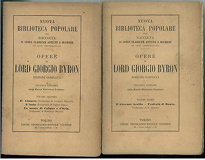 LORD GIORGIO BYRON OPERE UTET 1922 NUOVA BIBLIOTECA POPOLARE OPERE CLASSICHE
