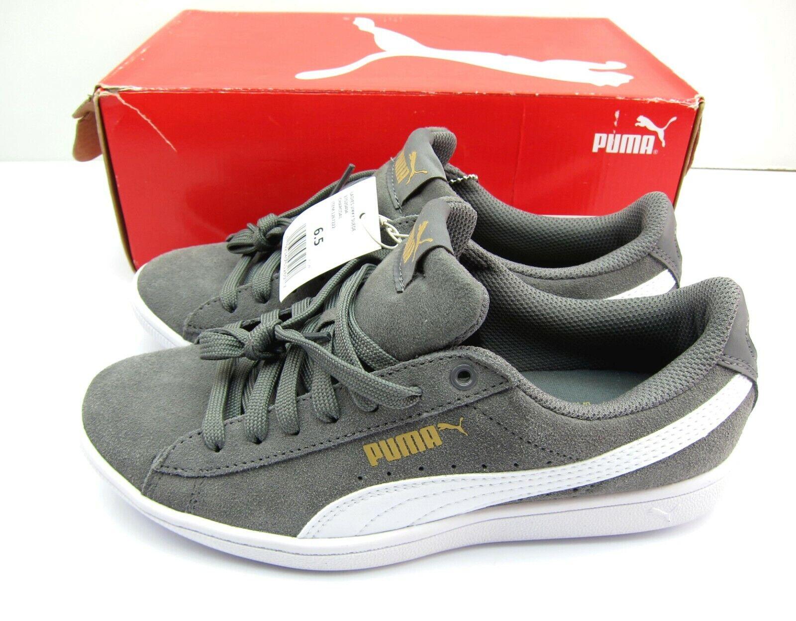 PUMA Ladies Vikky Suede Athletic Sneakers Shoes, Grey, 6.5 -