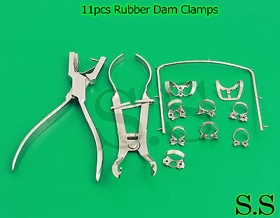 1 Set 11pcs Rubber Dam Clampsforcepainsworth Plier Holder Dentaldn-455