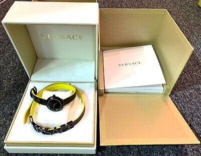 Versace Women's V-Flare Leather Black/Yellow Dial WristWatch VEBN091805550556