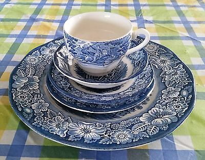 Staffordshire LIBERTY BLUE 5 Piece Place Setting Dinner Set Colonial Scenes Colonial 5 Piece Dinner