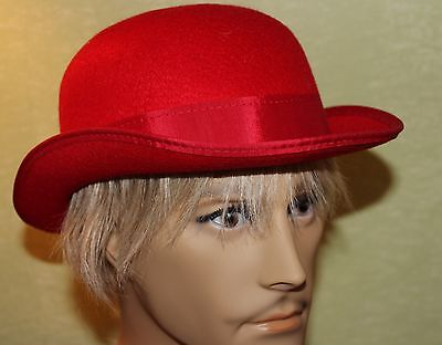 NEW PERMALUX RED COSTUME HALLOWEEN BOWLER DERBY HAT-large -STEAMPUNK CLOWN