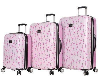 Betsey Johnson Luggage Hardside 3 Piece Set Suitcase With Spinner Wheels