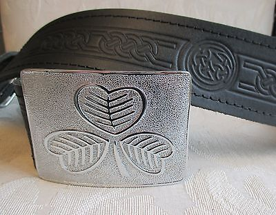 Celtic Embossed Black Leather Belt & Irish Shamrock Buckl...
