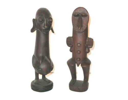 "Katumo Lot of 2 African Teak Figures Tribal Art Collection Wakamba Kenya 8"" Vtg"