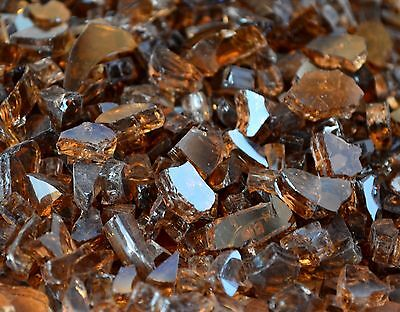 10 Lbs 1 4  Copper Reflective Fireplace  Gas Logs Fire Pit Glass Rocks Crystals