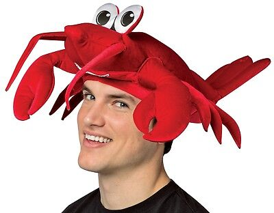 DELUXE ADULT RED LOBSTER CRAB FUNNY COSTUME HAT SEAFOOD CRAYFISH SEA ANIMAL CAP (Lobster Hat)