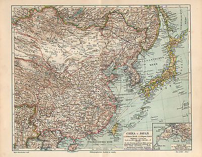 China Japan Korea Mongolei Peking Tsing-Tau LANDKARTE 1903