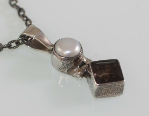Acleoni Sterling 925 Pendant Pearl Smoky Topaz