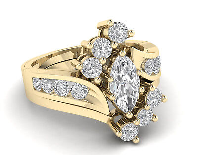 3.00 Ct Marquise Cut Diamond 14k Yellow Gold Over Womens Cluster Engagement -