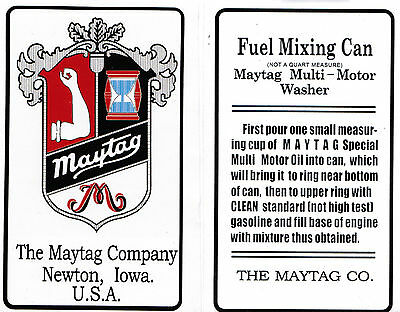 Maytag Gas Engine Motor Mixing Can Decal Not A Quart Measure Motor 92 31 72 82