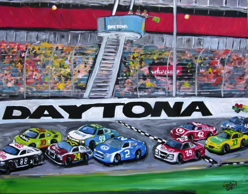 Daytona 500 Original Art Painting Artist Dan Byl Nascar Huge 60 Inches By 48